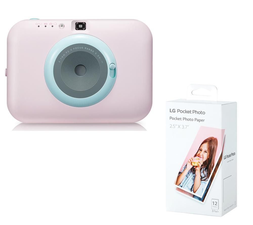 LG Pocket Photo PC389P Instant Camera & Photo Paper Bundle - Pink