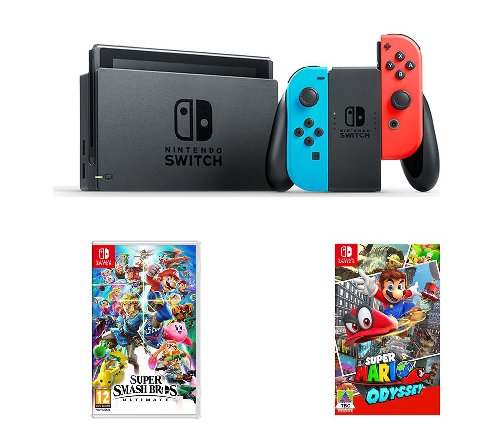 Image of NINTENDO Switch, Super Smash Bros. Ultimate & Super Mario Odyssey Bundle, Neon