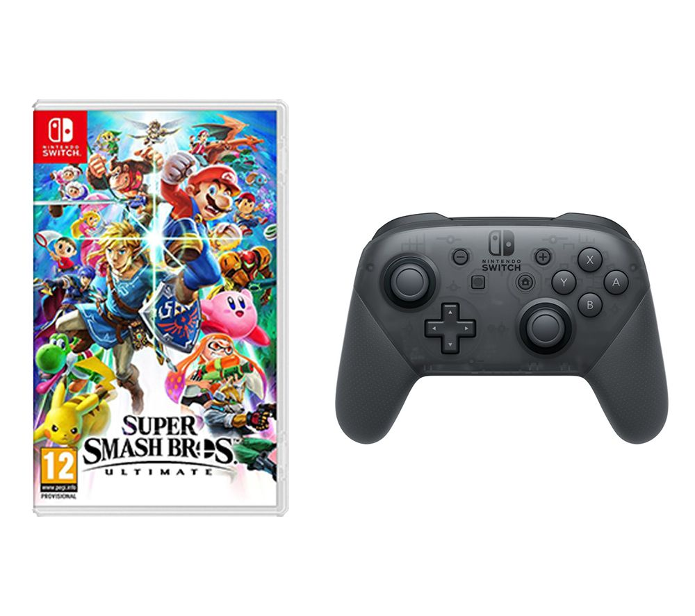 NINTENDO SWITCH Super Smash Bros. Ultimate & Switch Pro Controller Bundle