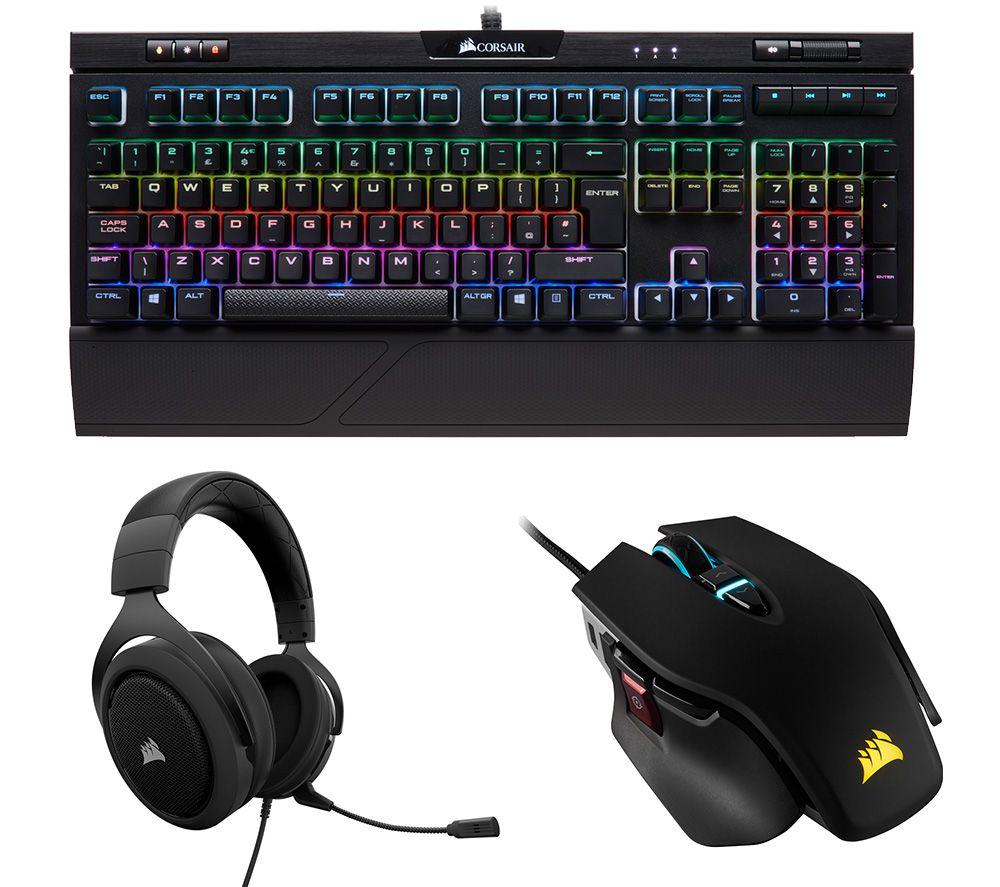 CORSAIR STRAFE RGB MK.2 Mechanical Gaming Keyboard, M65 RGB Elite Optical Gaming Mouse & HS50 Gaming Headset Bundle