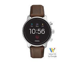 FOSSIL Explorist HR FTW4015 Smartwatch - Brown & Silver, Leather Strap