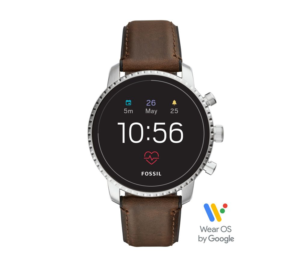 Image of Explorist HR FTW4015 Smartwatch - Brown & Silver, Leather Strap, Brown