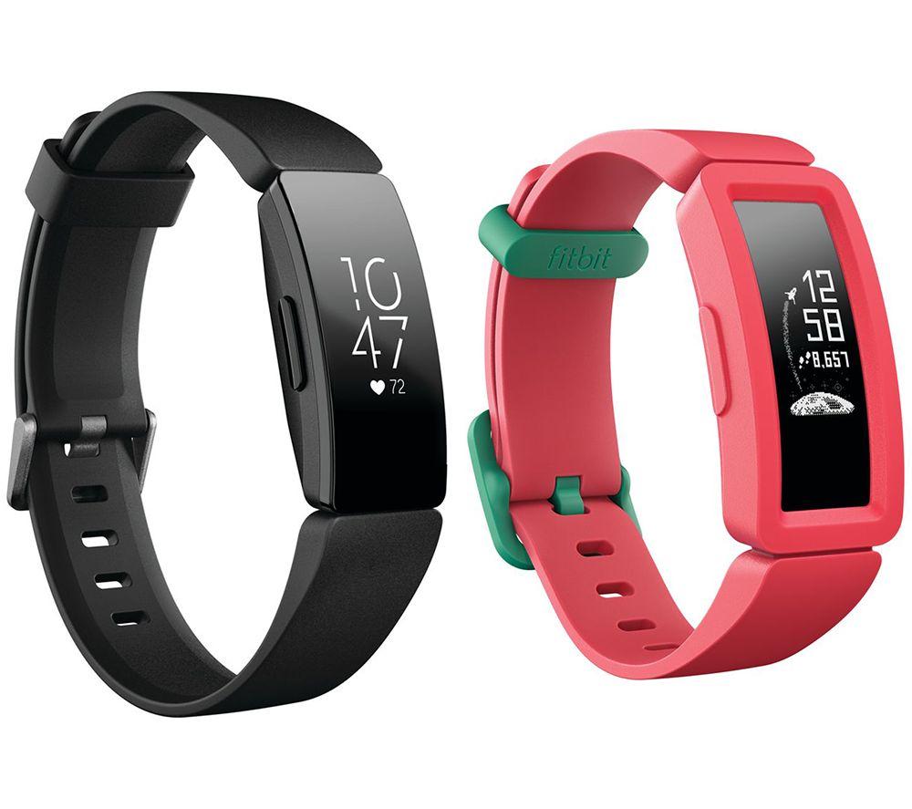 FITBIT Inspire HR Fitness Tracker & Ace 2 Kids Fitness Tracker Bundle - Black & Watermelon, Black