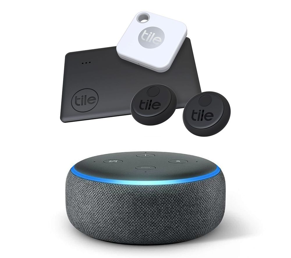 Image of TILE Essentials Mate, Slim, Stickers & Amazon Echo Dot Charcoal Bundle, Charcoal