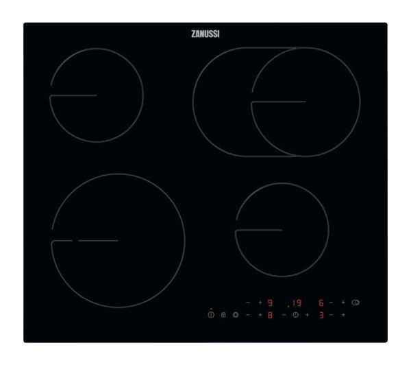 Image of ZANUSSI OvalZone ZHRN673K Electric Ceramic Hob - Black Glass
