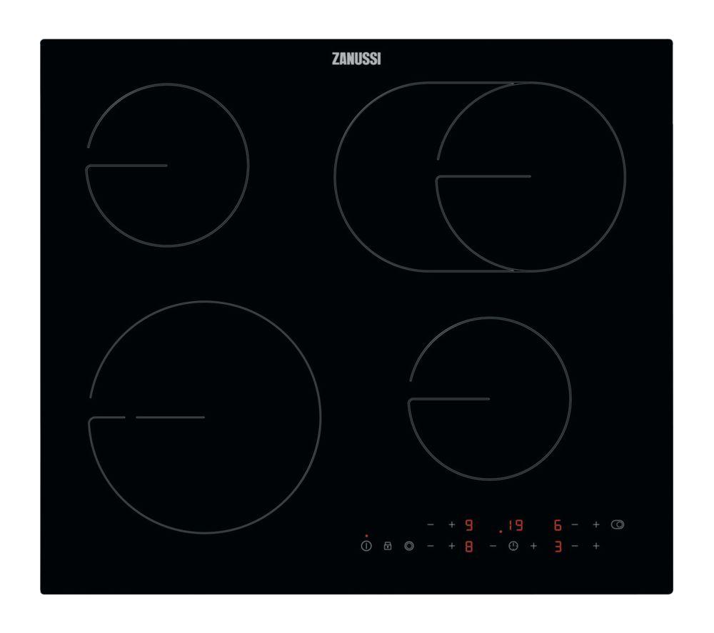 Image of ZANUSSI OvalZone ZHRN673K Electric Ceramic Hob - Black Glass, Black
