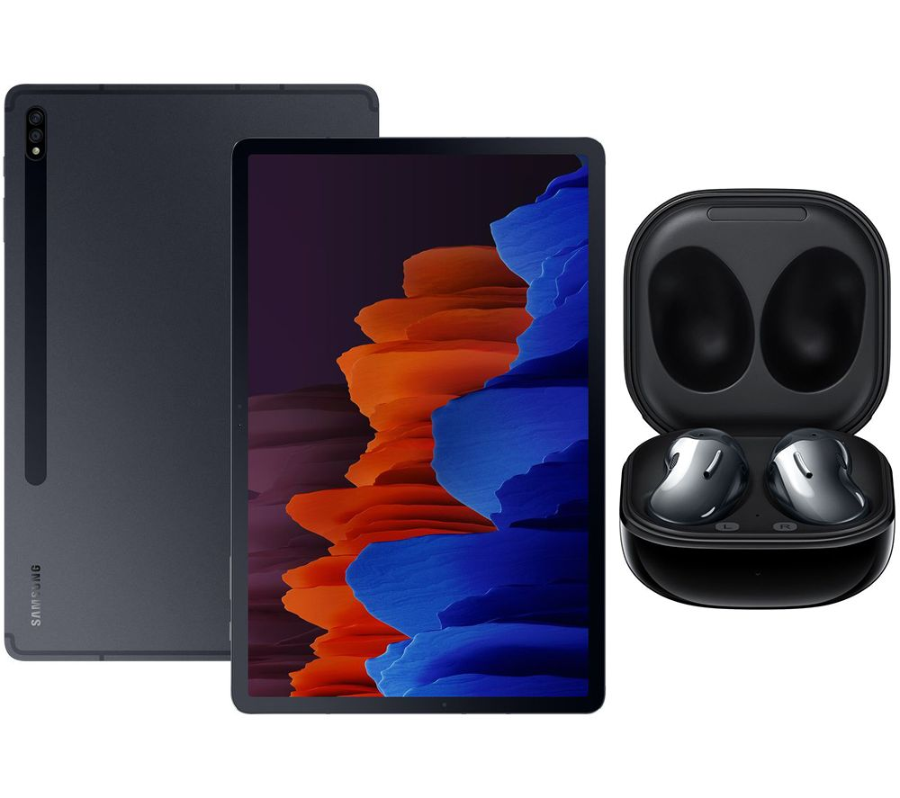 "Image of SAMSUNG Galaxy Tab S7 Plus 12.4"" Tablet & Black Galaxy Buds Live Bundle, Black"