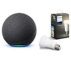 Echo (4th Gen) & E27 White Bluetooth LED Bulb Bundle - Charcoal