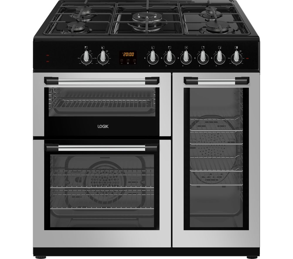 LOGIK LRC90S21 90 cm Dual Fuel Range Cooker - Silver, Silver