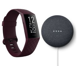 Charge 4 Fitness Tracker & Google Nest Mini (2nd Gen) Bundle - Rosewood & Charcoal