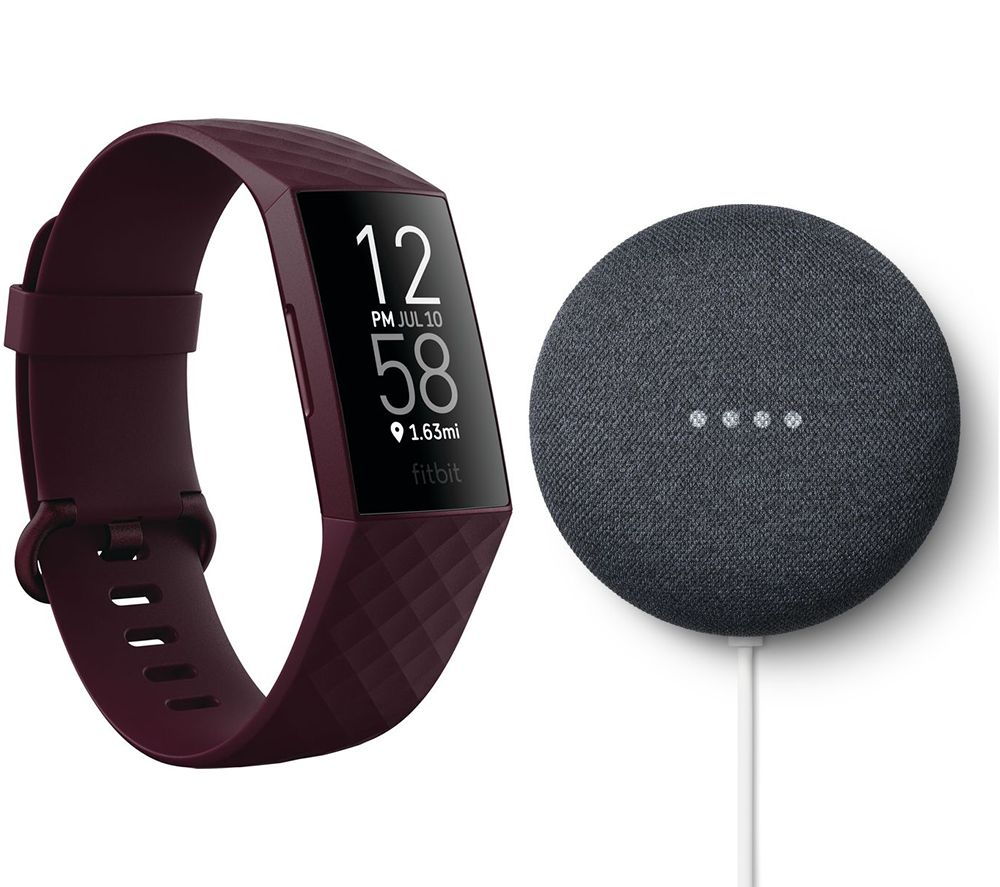 FITBIT Charge 4 Fitness Tracker & Google Nest Mini (2nd Gen) Bundle - Rosewood & Charcoal, Charcoal