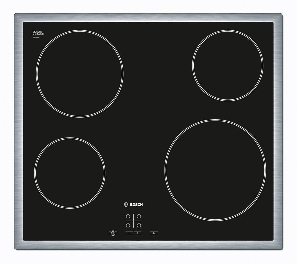 BOSCH PKE645D17 Ceramic Hob – Black + Classixx DWW067A50B Chimney Cooker Hood - Stainless Steel