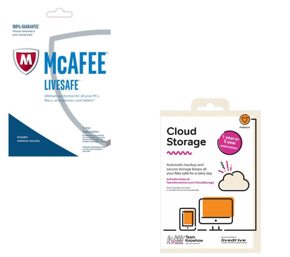 MCAFEE LiveSafe Unlimited 2016 1 Year & Cloud Storage 2 TB Backup Service Bundle