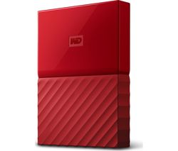 WD My Passport Portable Hard Drive - 2 TB, Red