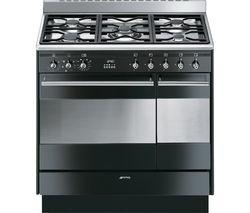 SMEG Concert 90 cm Dual Fuel Range Cooker - Black & Stainless Steel
