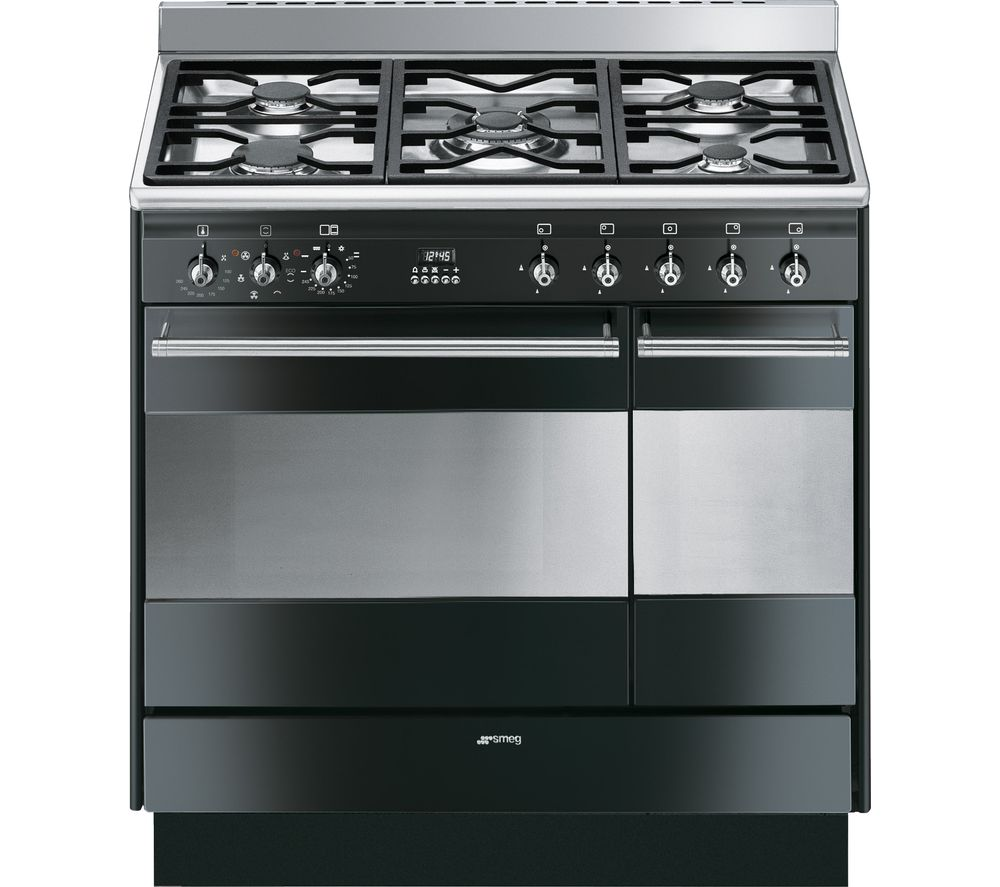 Image of SMEG Concert 90 cm Dual Fuel Range Cooker - Black & Stainless Steel, Stainless Steel