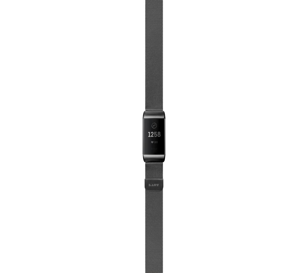LAUT Fitbit Charge 3 Steel Loop Strap - Black, Small