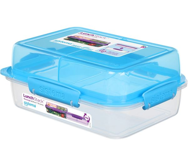 Image of SISTEMA Lunch Stack To Go Rectangular 1.8 litre Container - Blue