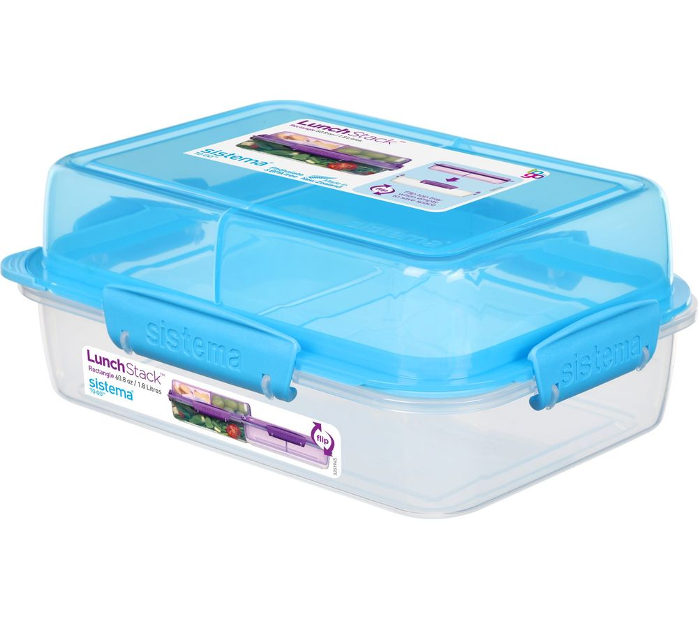 Image of SISTEMA Lunch Stack To Go Rectangular 1.8 litre Container - Blue, Blue