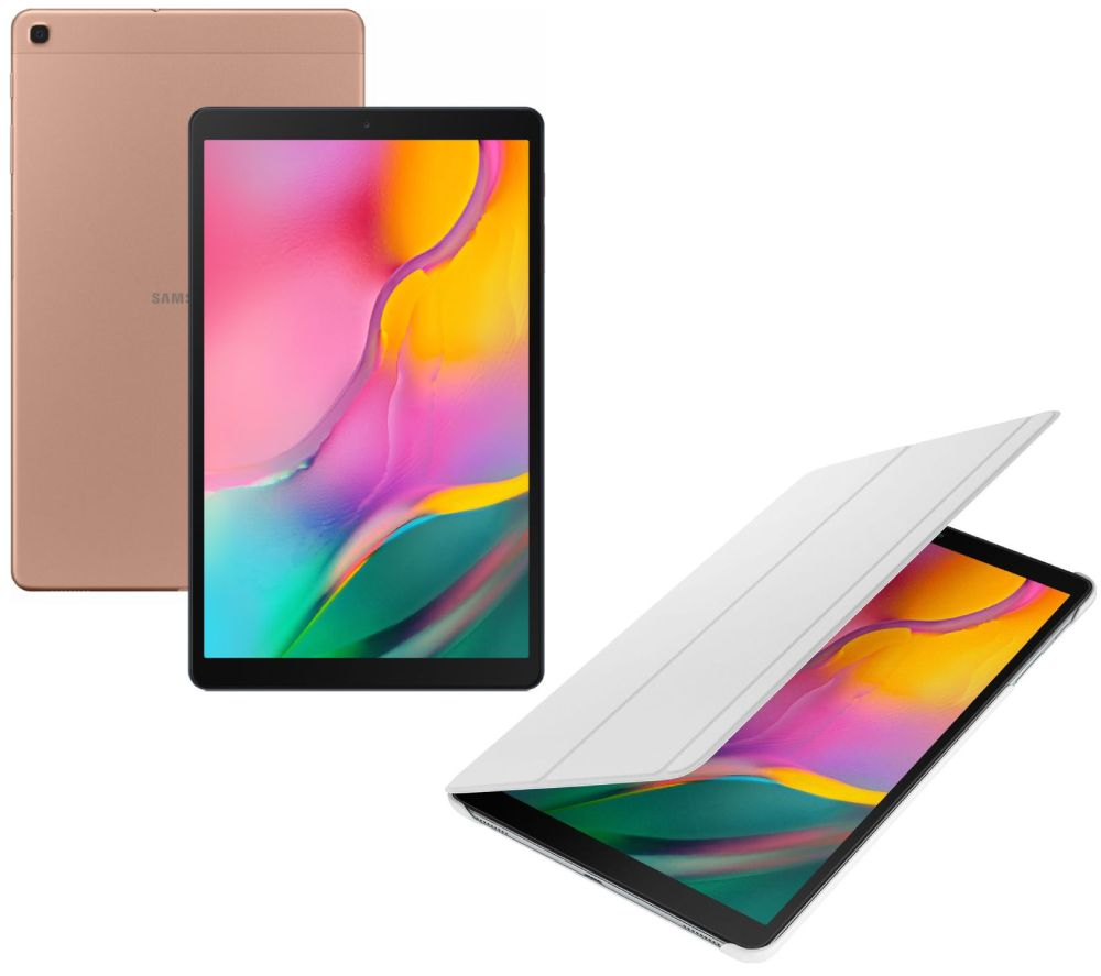 "SAMSUNG Galaxy Tab A 10.1"" Tablet & Book Cover Bundle - 32 GB, Gold"