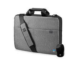 "HP L6V67AA-BUN 14"" Signature Slim Topload Laptop Case & Wireless Mouse Bundle - Grey"