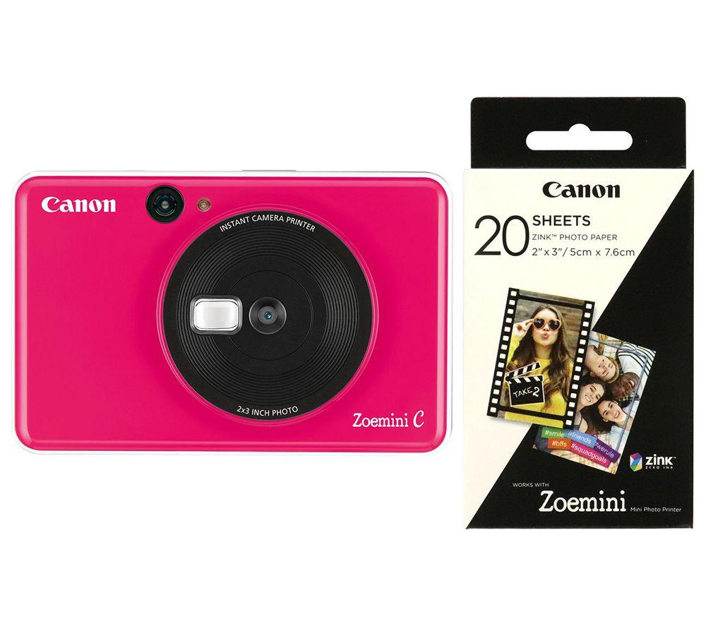 "CANON Zoemini C Instant Camera & Zoemini 2 x 3"" Glossy Photo Paper Bundle - Pink"