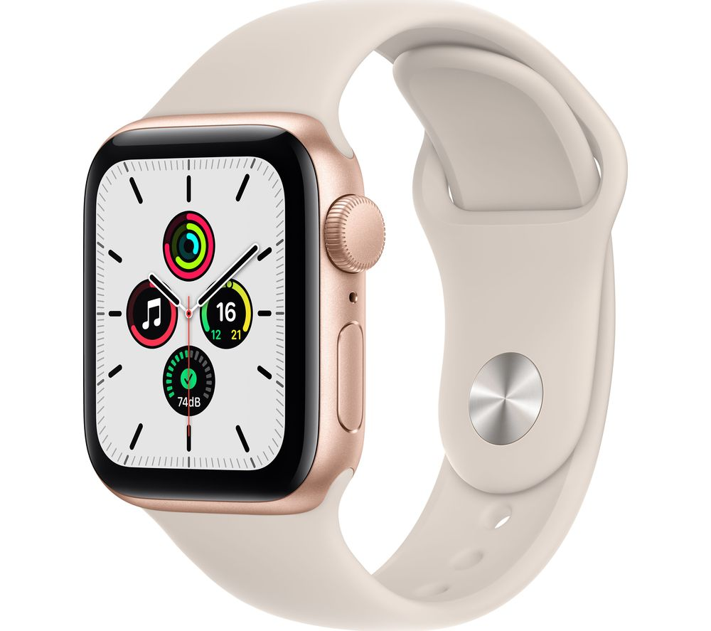 APPLE Watch SE - Gold with Starlight Sports Band, 40 mm