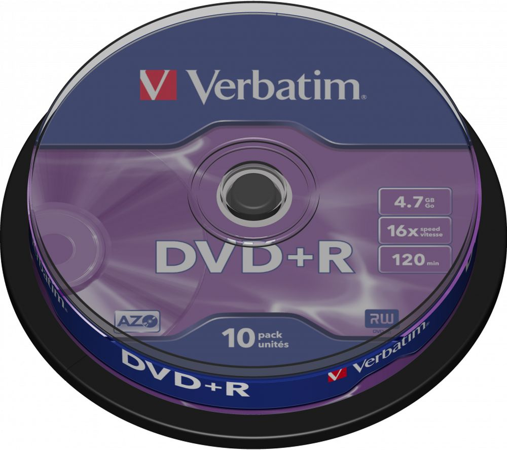 VERBATIM 16x Speed DVD+R Blank DVDs - Pack of 10