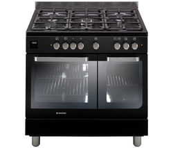 HOOVER HGD9395BL Dual Fuel Range Cooker - Black & Stainless Steel