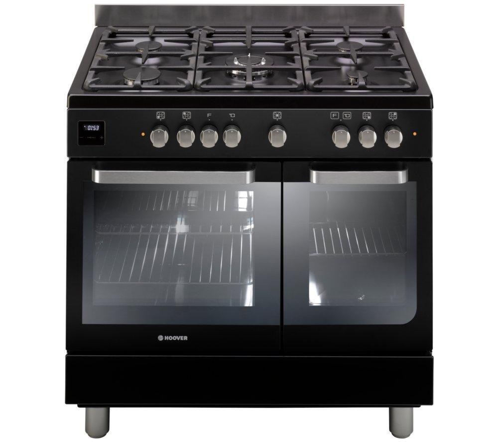 HOOVER HGD9395BL Dual Fuel Range Cooker - Black & Stainless Steel