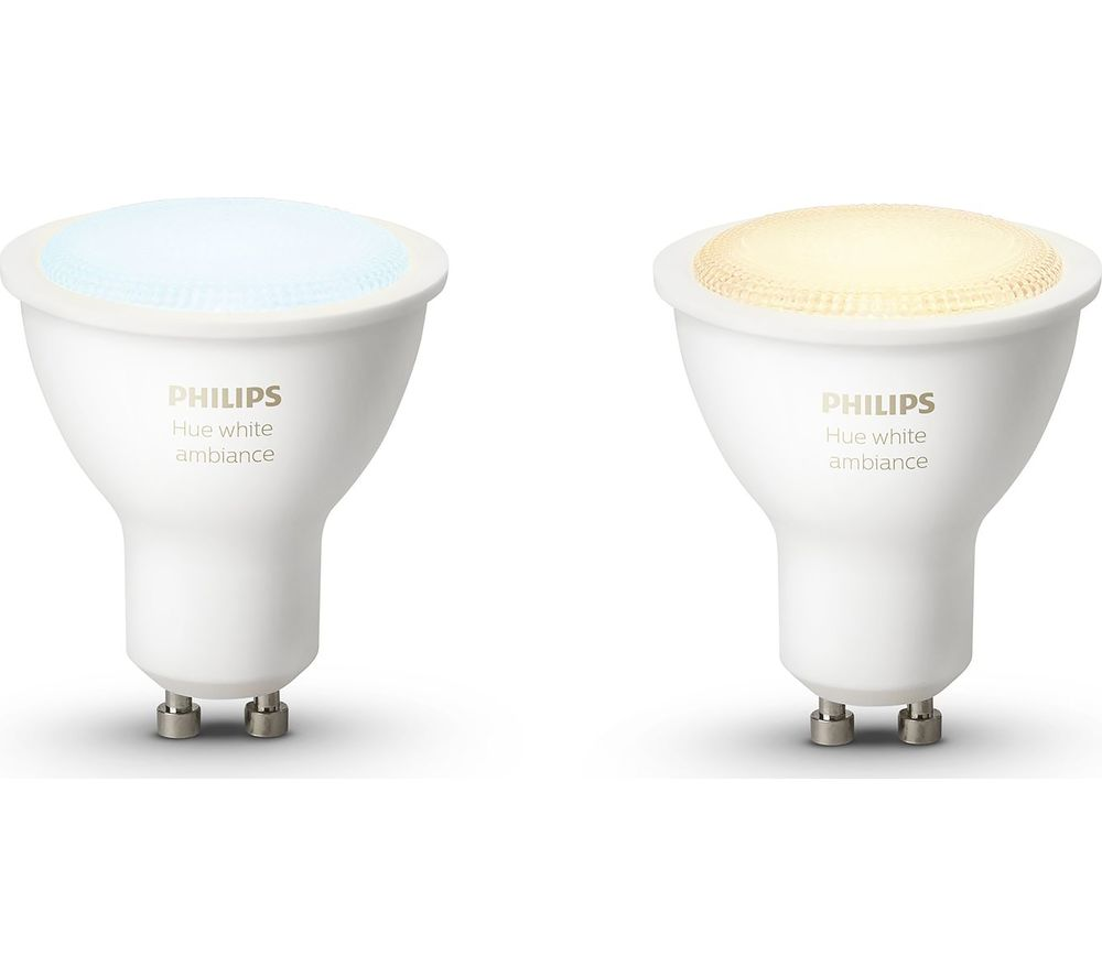 PHILIPS Hue White Ambiance Wireless Bulb - GU10, Pack of 2