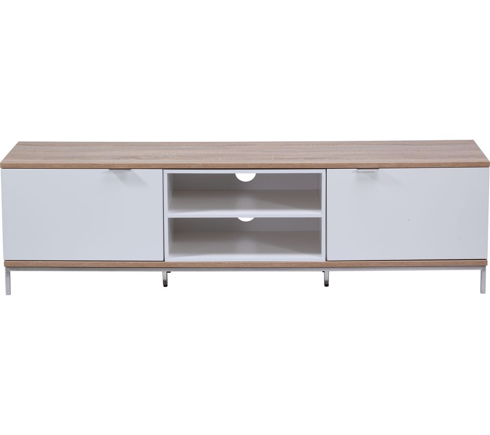 ALPHASON Chaplin 1600 TV Stand - White & Light Oak