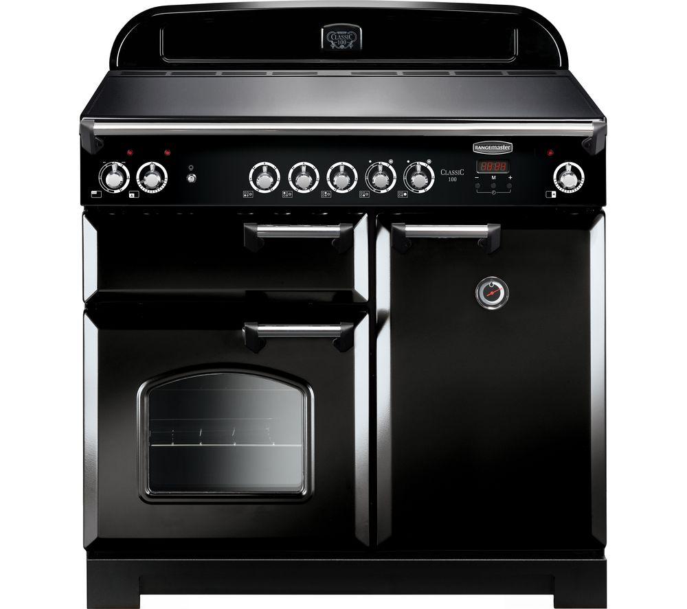 Rangemaster Classic CLA100ECBL/C Electric Range Cooker - Black & Chrome, Black
