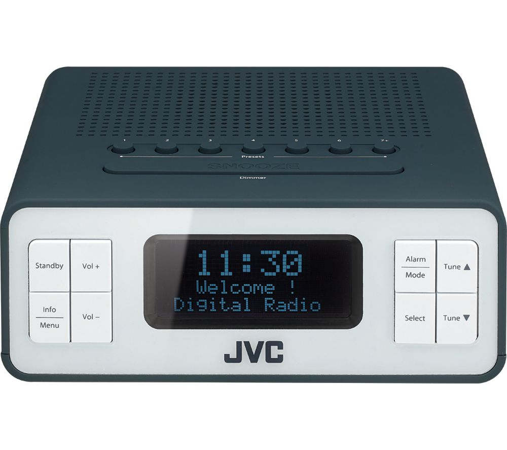 JVC RA-D38-H DAB/FM Clock Radio - Grey, Grey