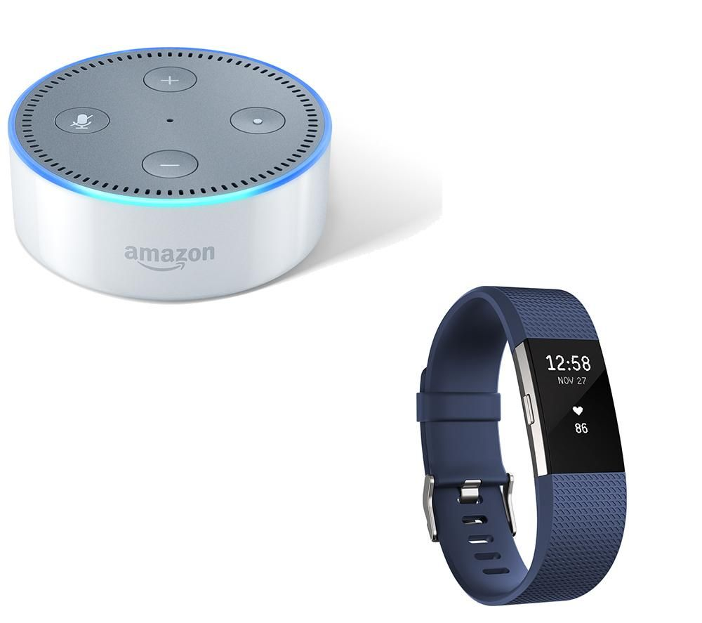 Compare prices for Fitbit Charge 2 and Amazon Echo Dot Bundle - Blue - Large