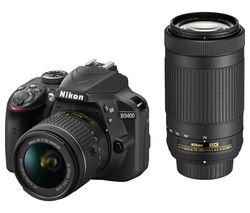 NIKON D3400 DSLR Camera with DX 18-55 mm f/3.5-5.6G & DX 70-300 mm f/4.5-6.3G ED Lens - Black