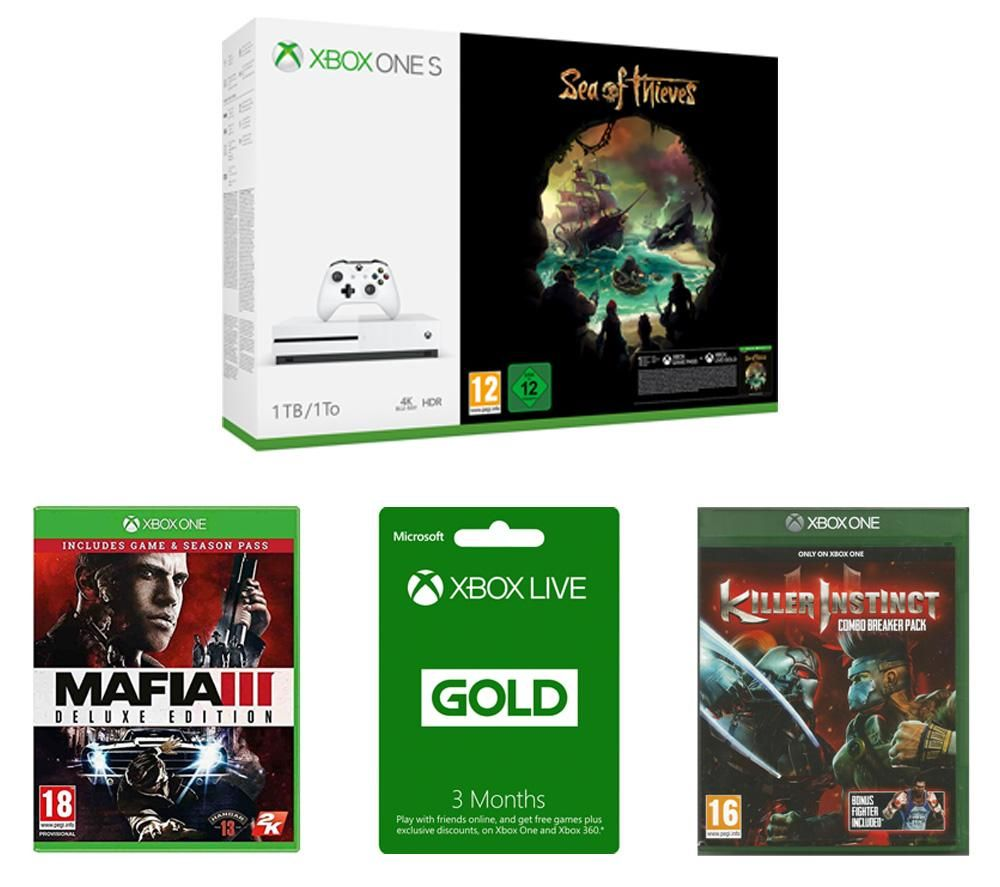 Image of MICROSOFT Xbox One S, Sea of Thieves, Mafia III Deluxe Edition, Killer Instinct Combo Breaker Pack & Xbox LIVE Gold Bundle, Gold