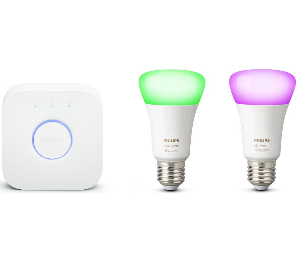 PHILIPS HUE Hue White & Colour Ambience Smart Lighting Starter Kit with Bridge £64.99 @ Currys