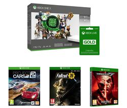 MICROSOFT Xbox One X with Project Cars 2, Tekken 7, Fallout 76, 3 Month Game Pass & 6 Month LIVE Gold Membership Bundle