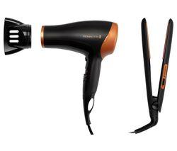 REMINGTON D3012GP Hair Dryer & Hair Straightener Set - Black & Bronze