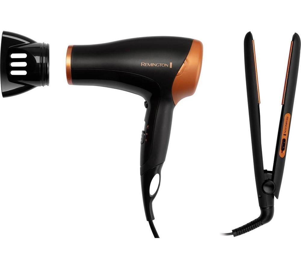 D3012GP Hair Dryer & Hair Straightener Set - Black & Bronze