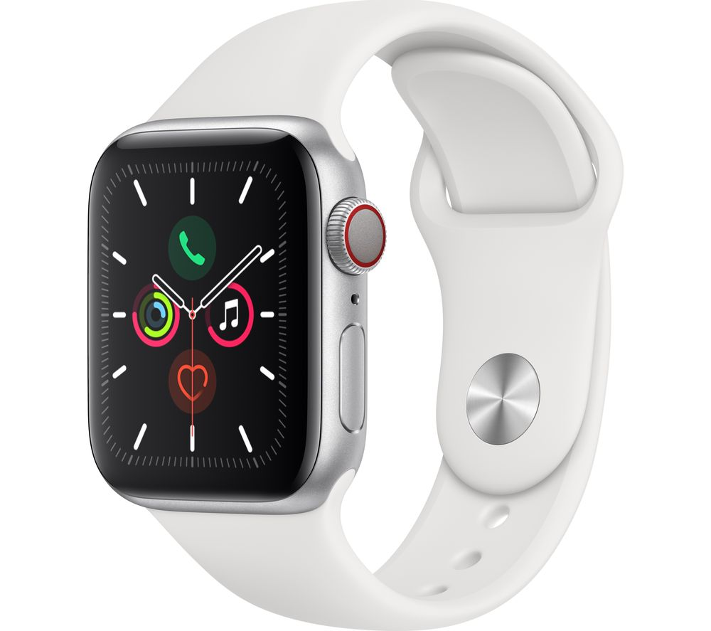 APPLE Watch Series 5 Cellular - Silver Aluminium with White Sports Band, 44 mm