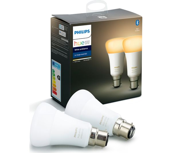 Image of PHILIPS HUE White Ambience Bluetooth LED Bulb - Twin Pack, B22