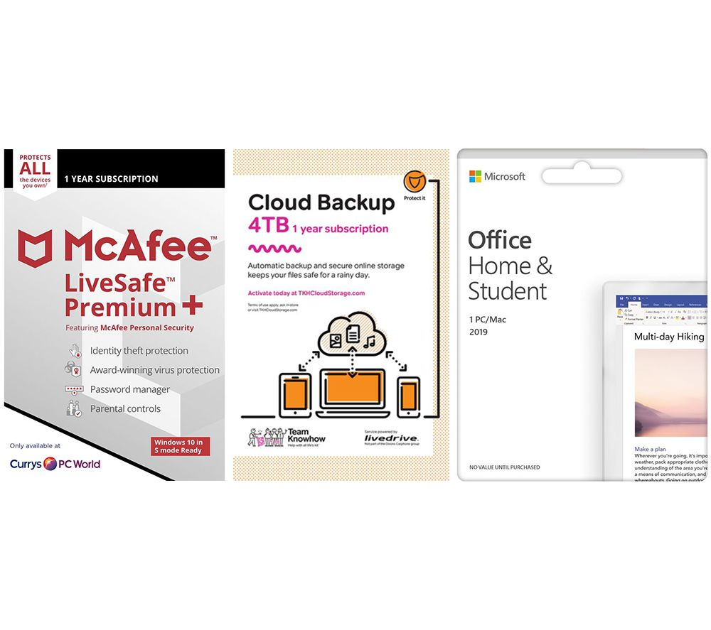 Image of MCAFEE LiveSafe Premium, Microsoft Office 2019 & Knowhow 4 TB Cloud Backup Bundle - 1 year