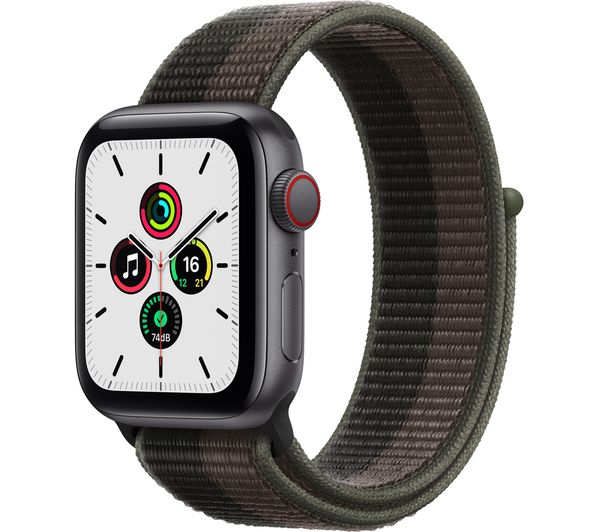 Image of APPLE Watch SE Cellular - Space Grey Aluminium with Tornado & Grey Sports Loop, 40 mm