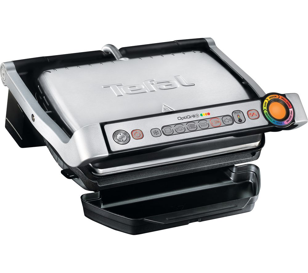 TEFAL OptiGrill GC713D40 Health Grill – Stainless Steel, Stainless Steel