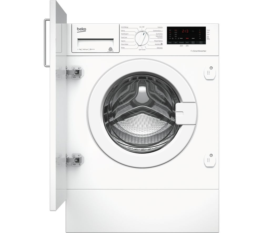 Image of BEKO WIX765450 Integrated 7 kg 1600 Spin Washing Machine - White, White