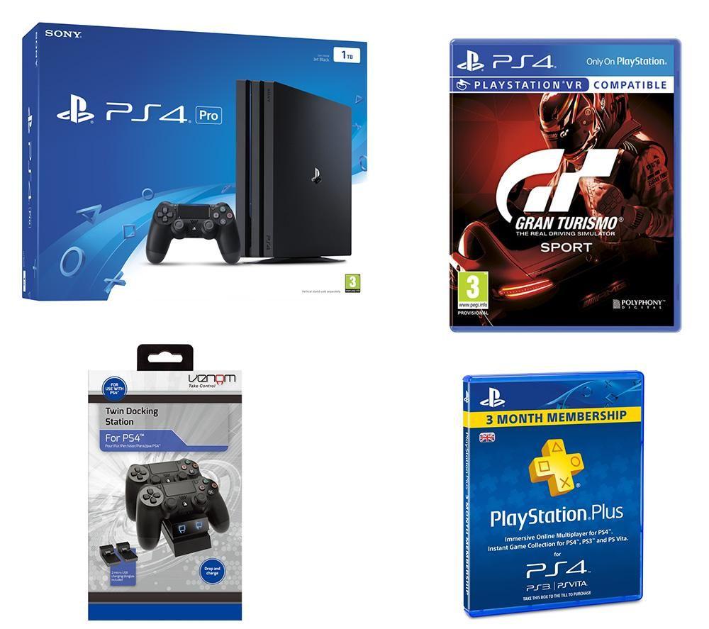 SONY PlayStation 4 Pro, GT Sport, Docking Station & PlayStation Plus 3 Month Subscription Bundle