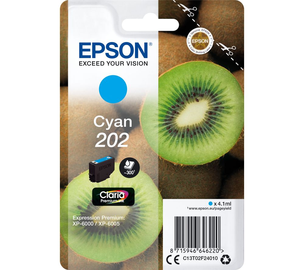 EPSON 202 Kiwi Cyan Ink Cartridge, Cyan