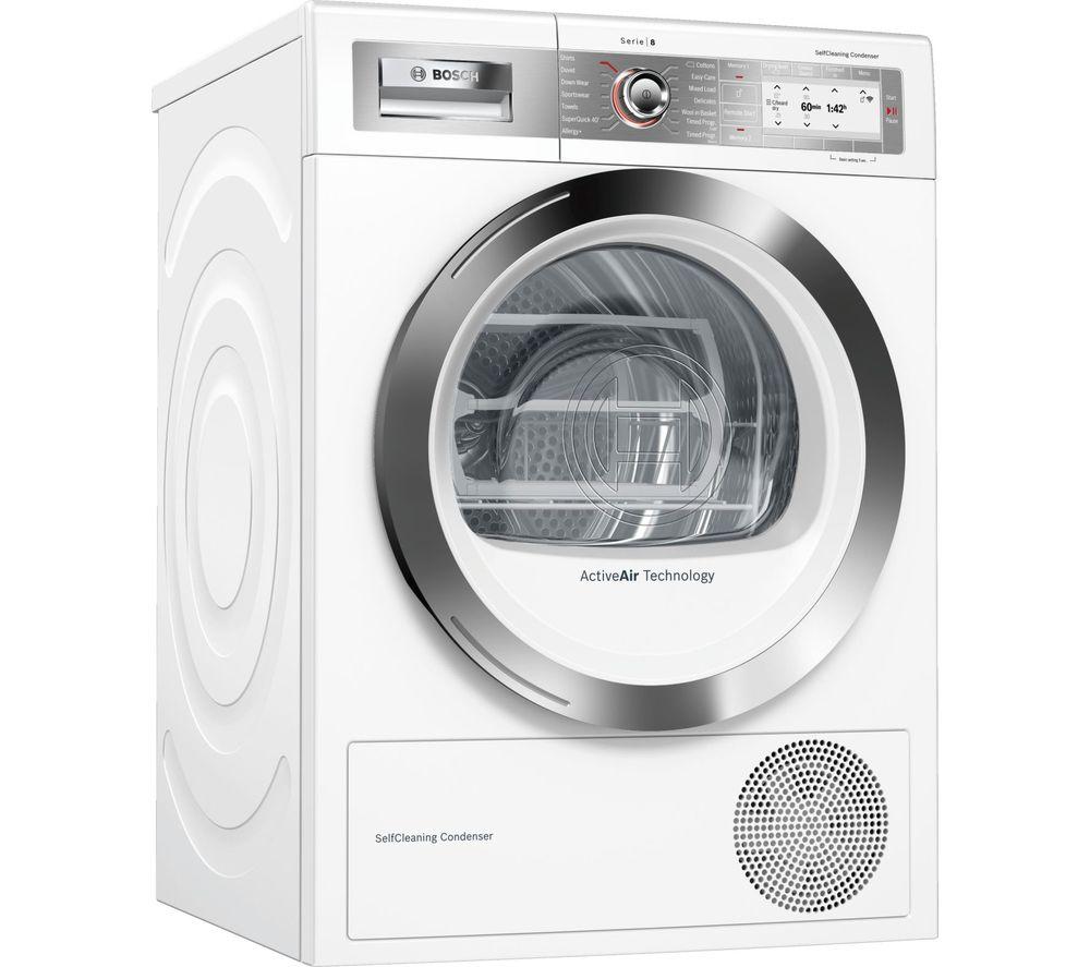 BOSCH Serie 8 WTYH6791GB Smart 9 kg Heat Pump Tumble Dryer - White